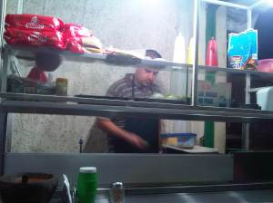 Vic at his hamburger stand
